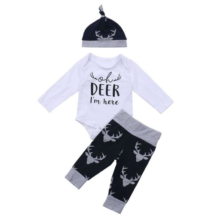 Hat Trousers Geagodelia 3-Piece Set of Clothes Outfit Newborn Baby Boy Cute Romper Long-Sleeved T-Shirt with Printed Letter
