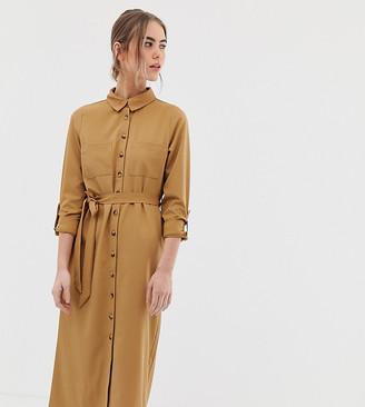 New Look button through tie waist dress in camel