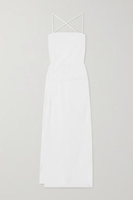 IOANNES Camilla Open-back Ruched Cotton-poplin Maxi Dress - White