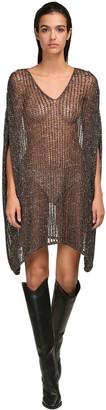 Saint Laurent Sequined Knit Mesh Dress