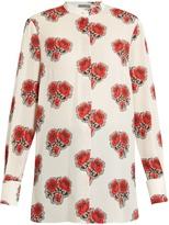 Alexander McQueen Poppy-print stand-collar silk blouse