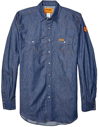 Wrangler Flame Resistant Long Sleeve Snap Work Shirt (Denim) Men's Clothing