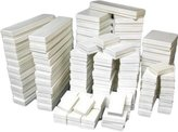 FindingKing 100 White Gloss Jewelry Display Cotton Filled Mixed Gift Box Set