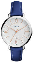 Fossil Jacqueline Stainless Steel Blue Leather Strap Watch