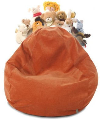 Majestic Home Goods Villa Velvet Stuffed Animal Storage Bean Bag Chair Cover w/ Transparent Mesh Base, Multiple Colors