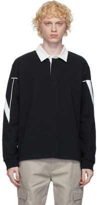 Valentino Black and White VLTN Macro Long Sleeve Polo