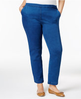 Karen Scott Plus Size Pull-On Denim Pants, Only at Macy's
