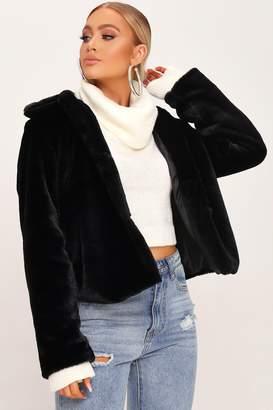 I SAW IT FIRST Black Short Faux Fur Coat