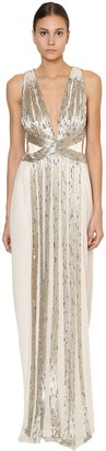 Alberta Ferretti Long Embellished Silk Chiffon Dress