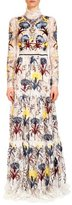 Erdem Carolyn Embroidered Lace Mock-Neck Gown, Ecru/Multi