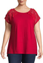 ST. JOHN'S BAY Short Sleeve Lace Cold Shoulder Tee - Plus