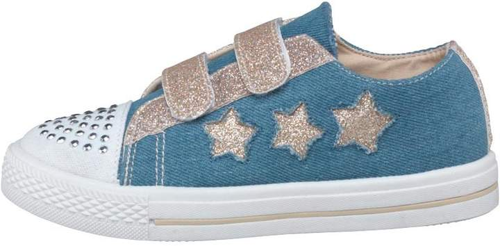 Board Angels Girls Glitter Star Denim Pumps Denim/Blush