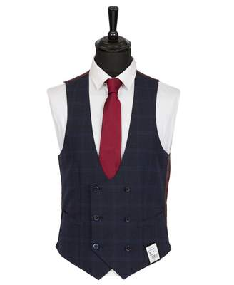 Remus Uomo Windowpane Checked Waistcoat Colour: NAVY, Size: 36R
