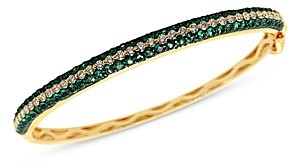 Bloomingdale's Emerald and Diamond Bangle Bracelet in 14K Yellow Gold - 100% Exclusive