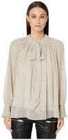 ML Monique Lhuillier Tie Front Micro Polka Dotted Flowy Top (Bone Black) Women's Dress