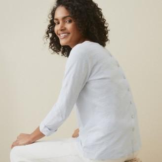 The White Company Organic Cotton Jersey Button Back T-Shirt, Pale Blue, 6