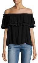 Velvet Dominga Gauze Off-the-Shoulder Tassel-Trim Top, Black