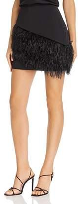Parker April Faux-Feather-Embellished Mini Skirt