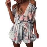 Paixpays Ladies Floral Pleated Skirt Suspender Skirt Loose Mini Dress Sundress