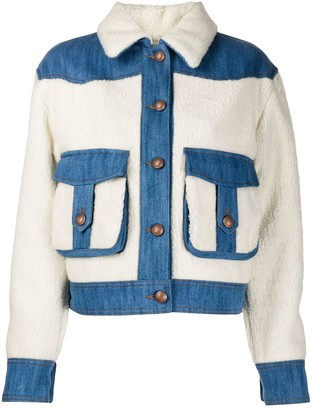 Jacob Cohen Faux Shearling Denim Jacket