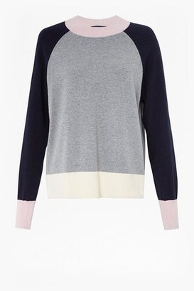 French Connection Colour Block Knit Jumper - S / Grey/Blue/Blush/Cream