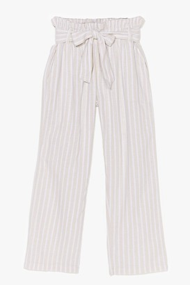 Nasty Gal Womens Strictly Business Paperbag Stripe Trousers - Beige - 14