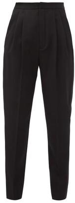 Saint Laurent Pleated Grain-de-poudre Wool Tuxedo Trousers - Black