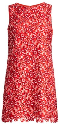 Alice + Olivia Clyde Floral Lace Eyelet Shift Dress