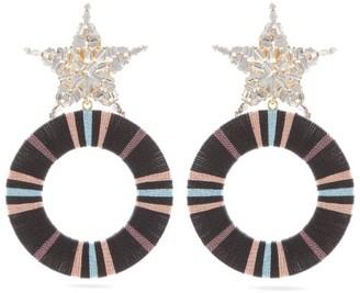 MaryJane Claverol Akila Star Crystal-embellished Drop Hoop Earrings - Black Multi