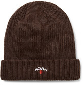 Noah Embroidered Ribbed-knit Beanie