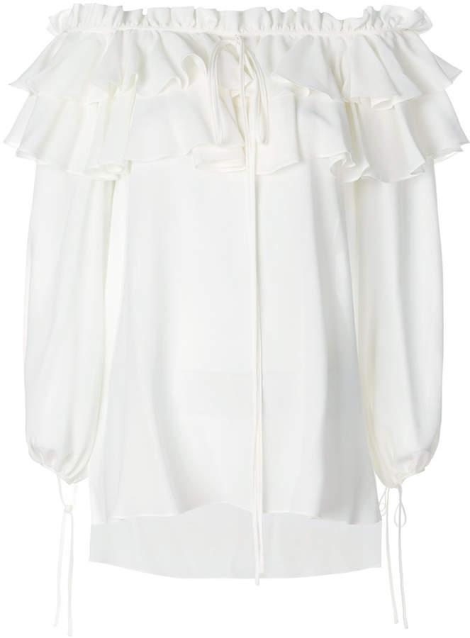 Alexander McQueen off-shoulder ruffle blouse