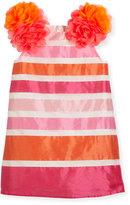 Charabia Nelly Sleeveless Striped Taffeta Pompom Dress, Pink, Size 10-12