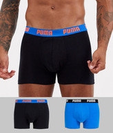 Puma 2 Pack logo waistband boxers in black and blue-Multi