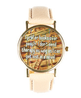 Tan & Gold 'I Prefer Books Over People' Faux Leather-Strap Watch