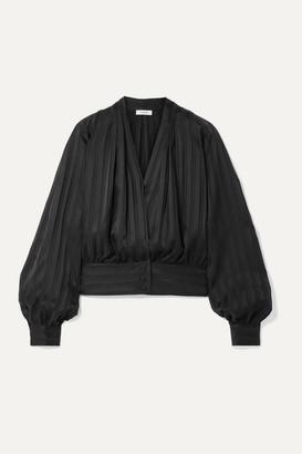Frame Wrap-effect Striped Silk-jacquard Top - Black
