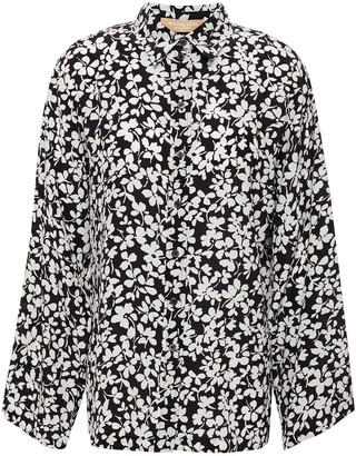 Michael Kors Fluted Floral-print Silk Crepe De Chine Shirt