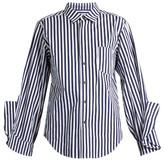 Toga Ruffled-cuff striped cotton shirt