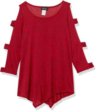 Star Vixen Women's Petite Long Ladder/Bar Sleeve Hanky Hem Sweater Knit Top