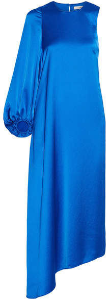 Tibi Celestia Asymmetric Satin Midi Dress - Bright blue