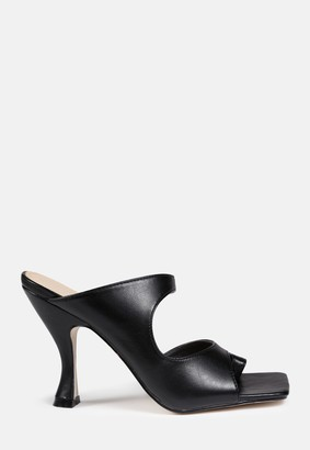 Missguided Black Double Strap Heeled Mules