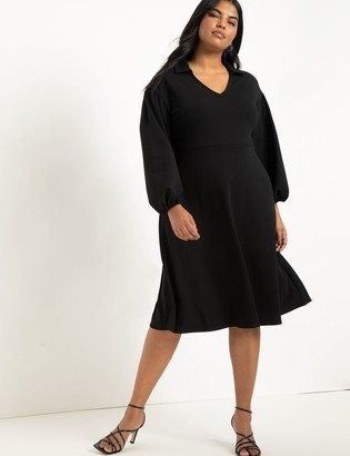 ELOQUII Drop Shoulder Collar Dress