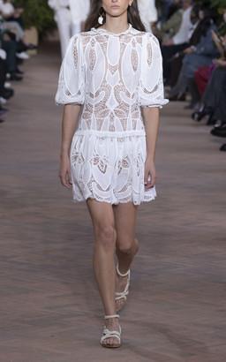 Alberta Ferretti Embroidered Cotton Mini Dress