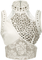 Rodarte Off-White Laser Cut Leather Top