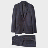 Paul Smith Men's Tailored-Fit Navy Muted-Check Wool Suit