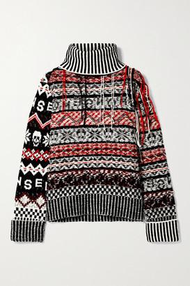 Monse Fringed Fair Isle Wool Turtleneck Sweater - Black