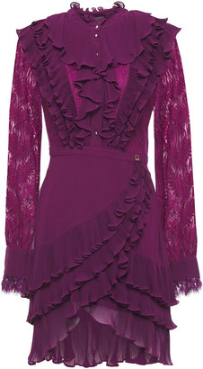 Just Cavalli Lace-paneled Ruffled Georgette Mini Dress