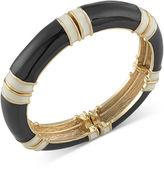 Carolee Bracelet, Gold-Tone Black and White Stretch Bracelet