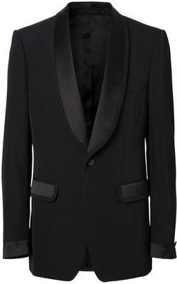 Burberry English Fit Silk Trim Wool Tailored Jacket