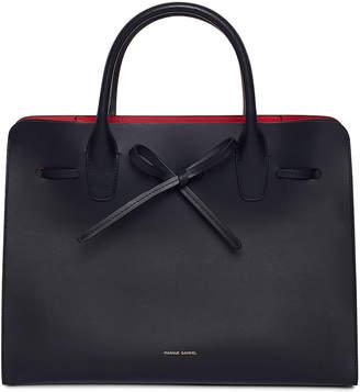 Mansur Gavriel Vegetable-Tanned Leather Sun Tote Bag, Black/Red