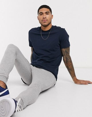 ASOS DESIGN longline t-shirt with side splits in navy